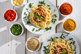 Richly filled dinner of spaghetti — Stock Photo