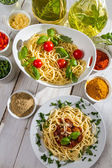 Dinner in the style of Italian cuisine — Stock Photo