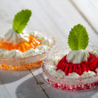 Stock Photo: Two colored jelly served with cream