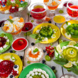 Close-up of different kinds of fruit jelly - Stock Photo