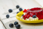 Close-up of jelly with berry fruits — Stock Photo