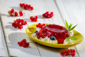 Red jelly with berry fruits — Stock Photo