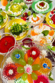 Birthday Party with fruit jelly — Stock Photo