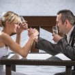 The bride wrestle with the groom — Stock Photo #11642003