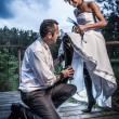 Weird bride and groom session — Stock Photo