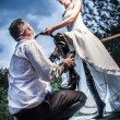 Eccentric wedding young couple — Stock Photo