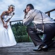 Just Married in wedding session — Stock Photo