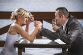 The bride wrestle with the groom — Stock Photo