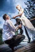 Eccentric wedding young couple — Stock Photo