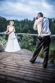 Bride and groom photo session in the park by the lake — Stock Photo