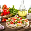 Preparations for baking pizzfrom fresh vegetables — Stock Photo #11994850