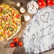 Royalty-Free Stock Photo: I love pizza with fresh vegetables