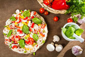 Preparations for baking pizza — Stock Photo