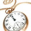 Old pocket watch isolated on white background — 图库照片