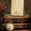 Frame with old photo paper texture, pocket watch and books in Low-key — Stock Photo