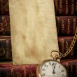 Old photo paper texture, pocket watch and books in Low-key — Stock Photo #11713795