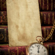 Royalty-Free Stock Photo: Old photo paper texture, pocket watch and books in Low-key