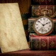 Old photo paper texture, pocket watch and books in Low-key — Stock Photo #11713797