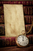 Old photo paper texture, pocket watch and books in Low-key — Stock Photo