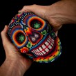 Постер, плакат: Beaded Skull with hands Surprised