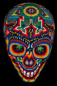 Beaded skull isolated on black — Stock Photo