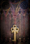 Golden Key on Ancestral Book Cover — Stock Photo