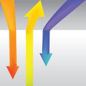 Three colour arrows — Stock Vector