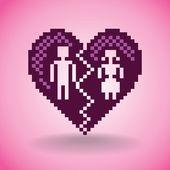 Broken heart from pixels — Stock Vector