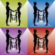 Men and women holding by hands — Stock Vector