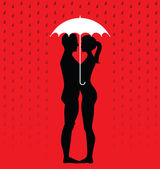 Silhouette of young couple under an umbrella — Stock Vector