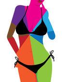 Hot woman body in bikini — Stock Vector