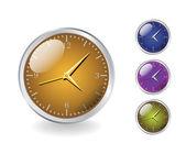 Four modern shiny metal clocks - realistic illustration — Stock Vector