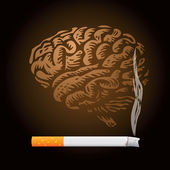 Cigarette and human brain — Stock Photo