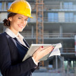 Female construction engineer / architect with a tablet computer — Stock fotografie
