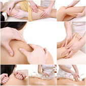 Various massage female body parts — Stock Photo