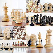 Chess pieces on wood board — 图库照片