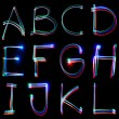Stock Photo: Handwritten Neon Light Alphabets