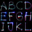Handwritten Neon Light Alphabets — Stok fotoğraf