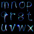 Handwritten neon light alphabets — Stock Photo #12129655