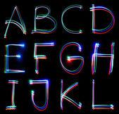 手写的霓虹灯字母表 — 图库照片