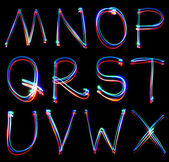 Handwritten Neon Light Alphabets — 图库照片