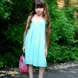 Royalty-Free Stock Photo: Portrait of child girl in turquoise dress