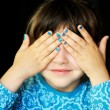 Little girl with hands covering her eyes — Stock Photo #11593530