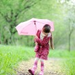 Kid girl walking outdoors with pink umbrella — Stock Photo #12073905