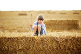 Little girl sitting on a top of big haystack — Stock Photo