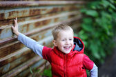 Portrait of cute boy posing outdoors — Stock Photo