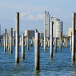 Stock Photo: Beach pier posts