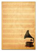 Oud papier grunge muziek textuur bladachtergrond. — Stockfoto