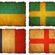 Flags football 2012 - group A, B, C, D on Vintage background wit — Stock Photo #10975869