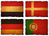 Flags football 2012 - group A, B, C, D on Vintage background wit — Stock Photo